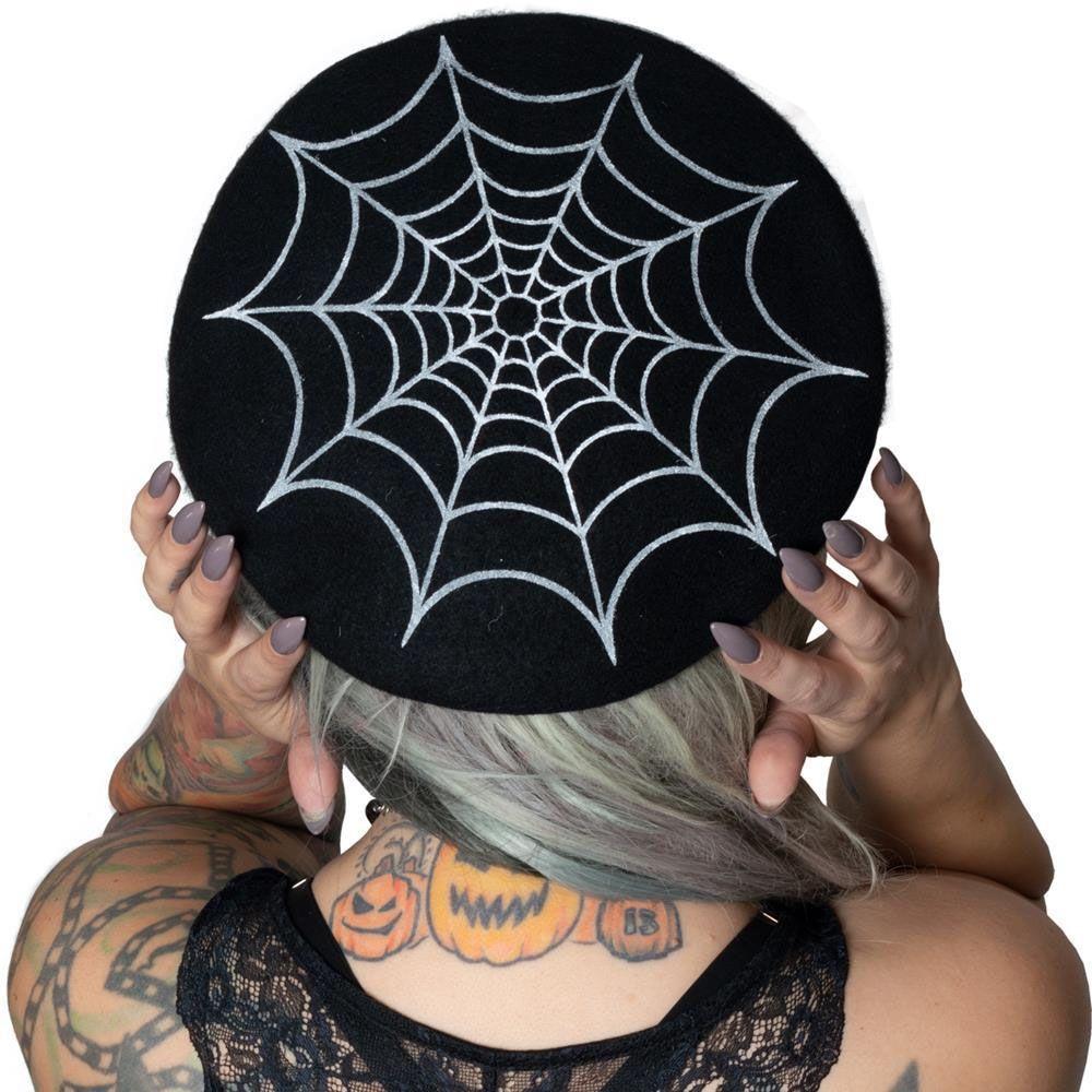Sourpuss Spider /& Web Knitted Winter Scarf Black Goth Punk Rockabilly Pin Up