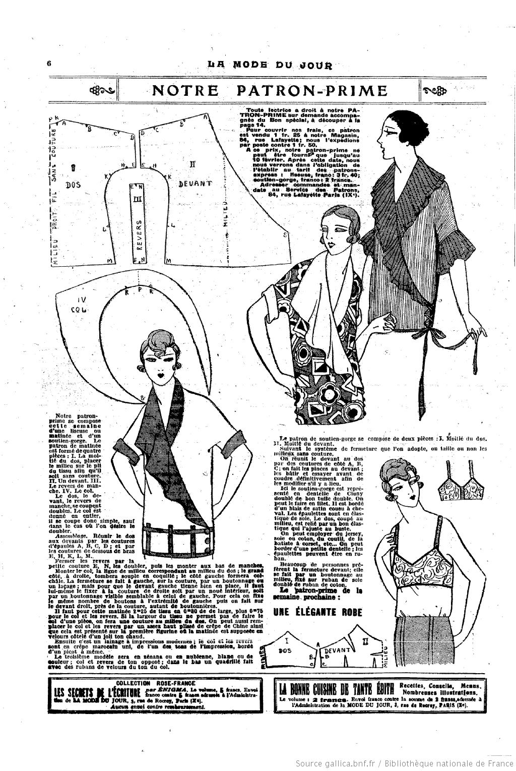 La Mode du jour. [ | 1920s Fashion | Pinterest | Google, Patrones y ...