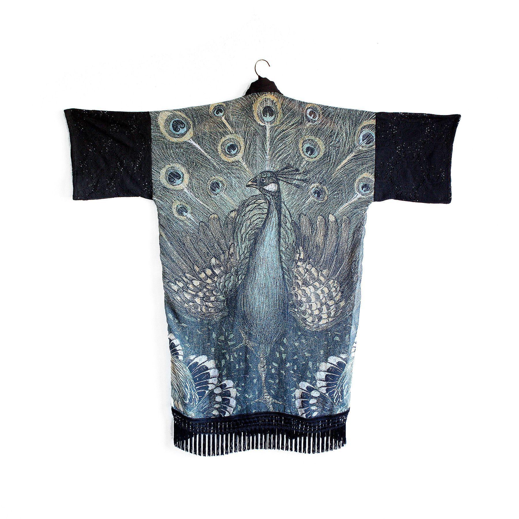 Fringe Kimono Jacket - Forest Peacock & Black Cotton Lace