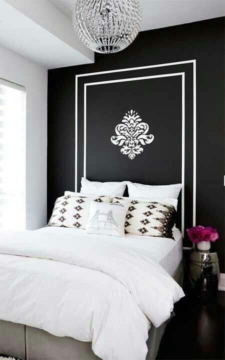 Hand Painted Stenciled Directly On Wall Behind Bed As H Board Painted Headboard Home Decor Home