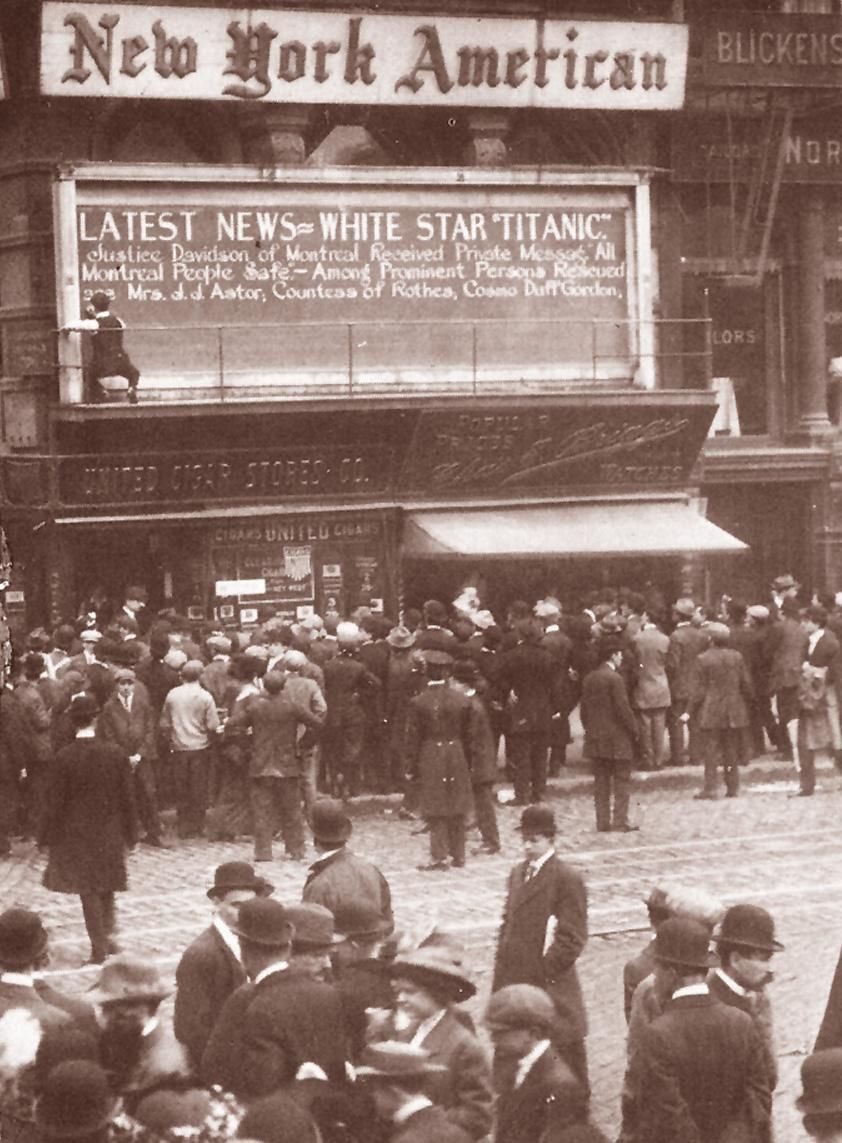 Titanic news at new york american 39 s office 1912 39 s version of twitter titanic history - The office american version ...