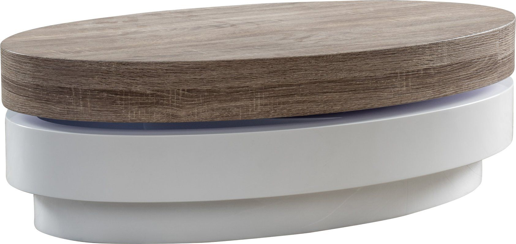 The Broads Oval Mod Rotatable Coffee Table With Sonoma Top Offers A Clear  Late 60u0027s Vibe