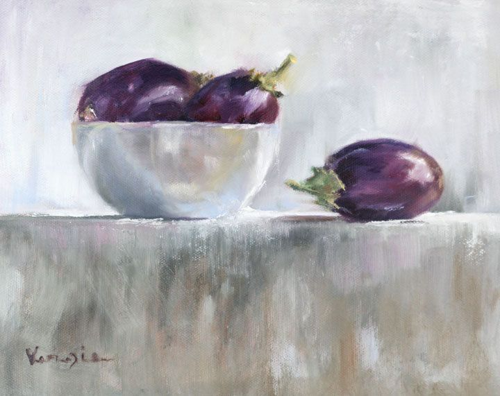 Eggplants   Art Print Of Painting   Large Wall Art Print On Wood Block.  Life KitchenHome Decor ...