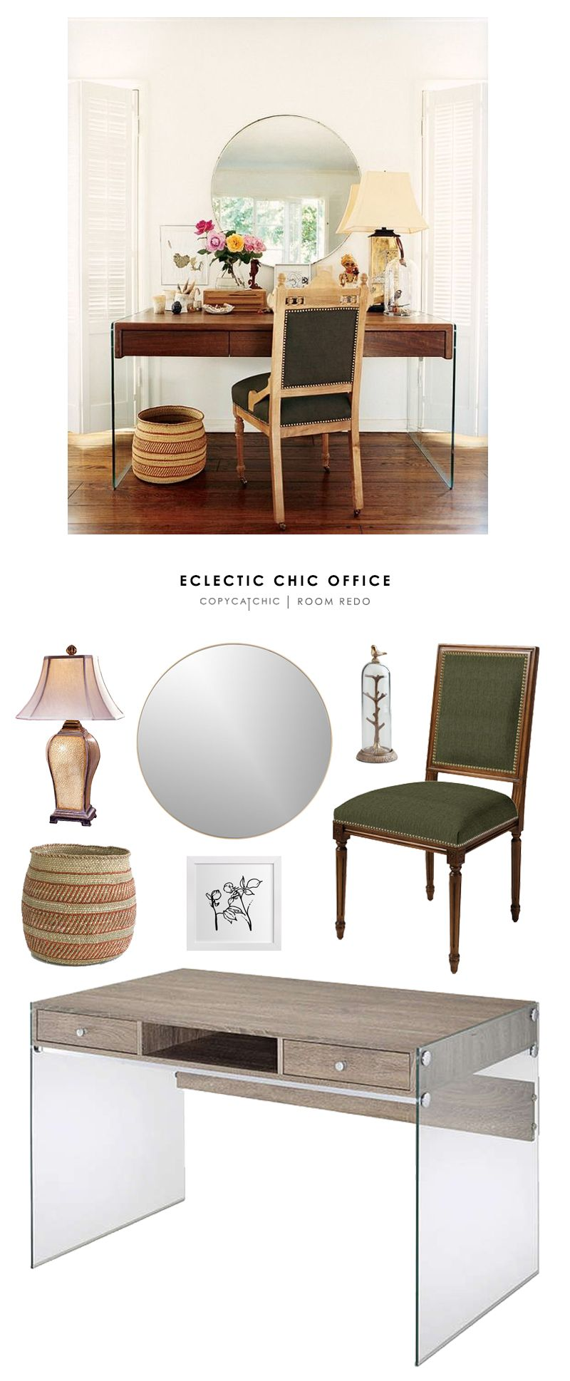 This Eclectic, Chic Office Featured On My Domaine Is Recreated For Less By  @copycatchic