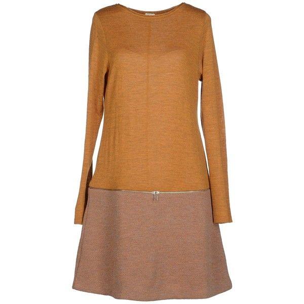 Siyu Short Dress ($140) ❤ liked on Polyvore featuring dresses, ocher, siyu, longsleeve dress, long sleeve dress, mini dress and long-sleeve mini dress