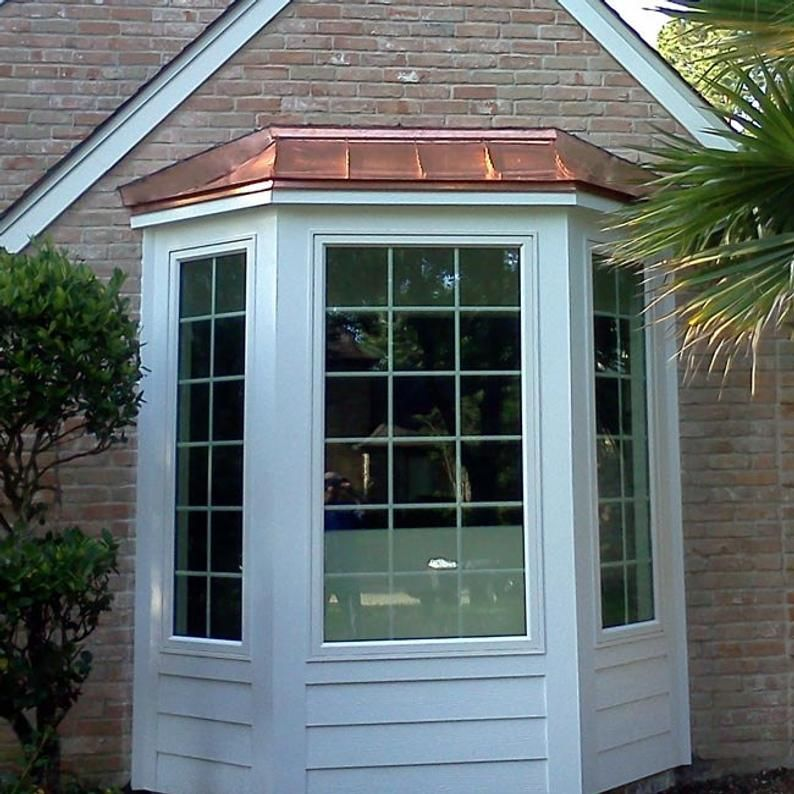 Copper Sweep Bay Window Roof Etsy In 2020 Brick Exterior House Bay Window Exterior Window Trim Exterior