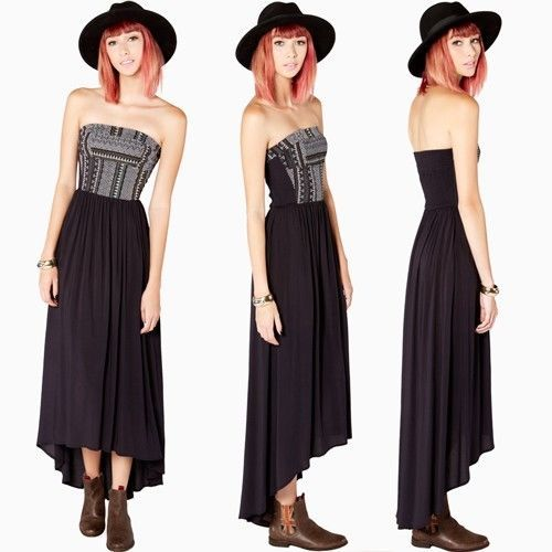 High Low Black Tribal Aztec Tube Top Maxi Long Dress