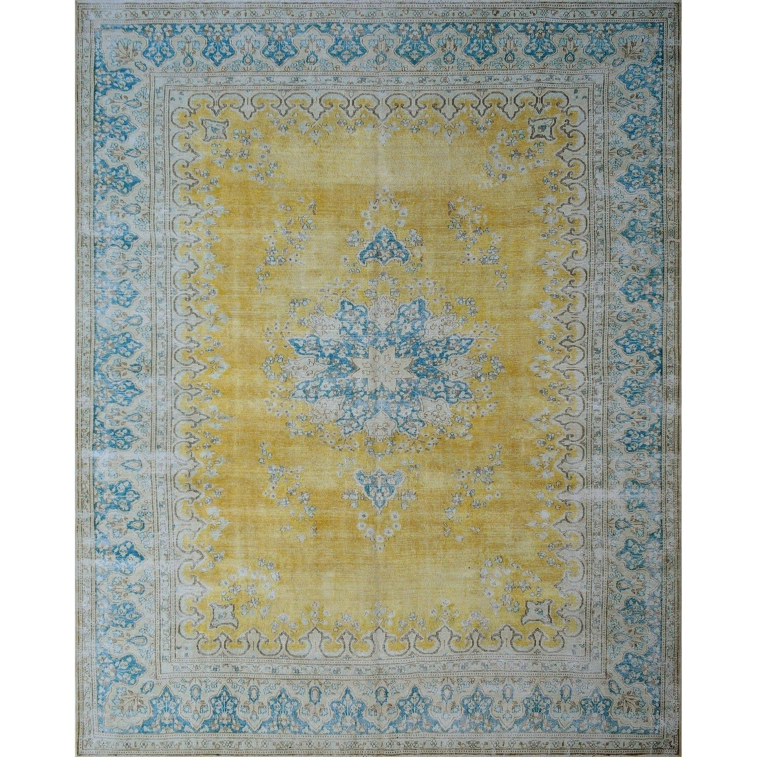 Refurbished Noori Rug Gold Blue Rug 9 8 X 12 6 9 8 X 12 6 Wool Oriental Rugs Colorful Rugs Area Rugs