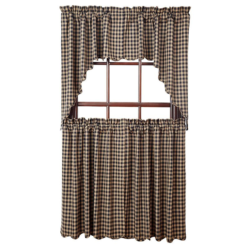 Black Check Scalloped Window Curtain Swag 36 X 16 From The Nancys Nook Collection By Victorian Heart