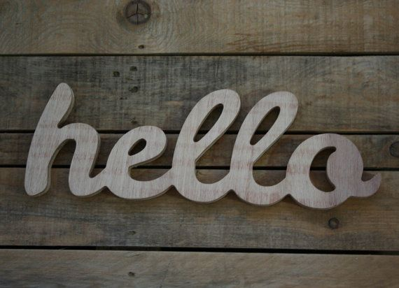 Hello Wooden Sign Home Decor Word Handwritten Typography Woodworking Wood Sign Hello Timber Sign Wooden Caption Wording Custom Wooden Signs Wooden Signs Home Decor