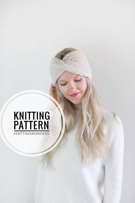 Knitting Pattern Turban Twist Headband Womens Ear Warmer