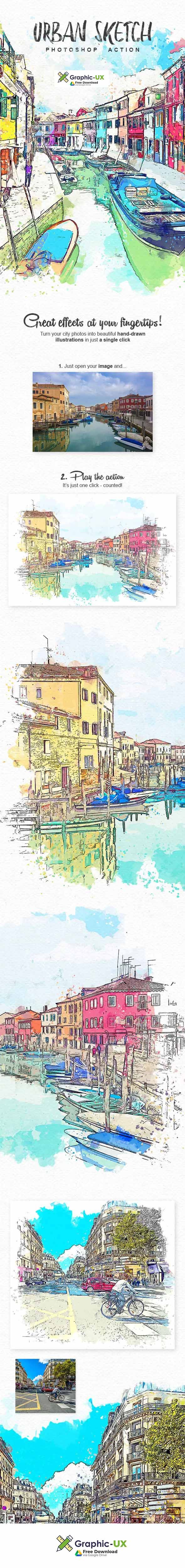 Urban Sketch Photoshop Action Free Download With Images Sketch