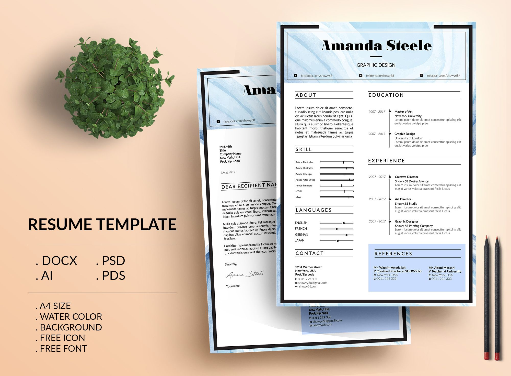 Word Cv Templates 2007%0A Check out my  Behance project   u   cWater color Resume Template   CV Template