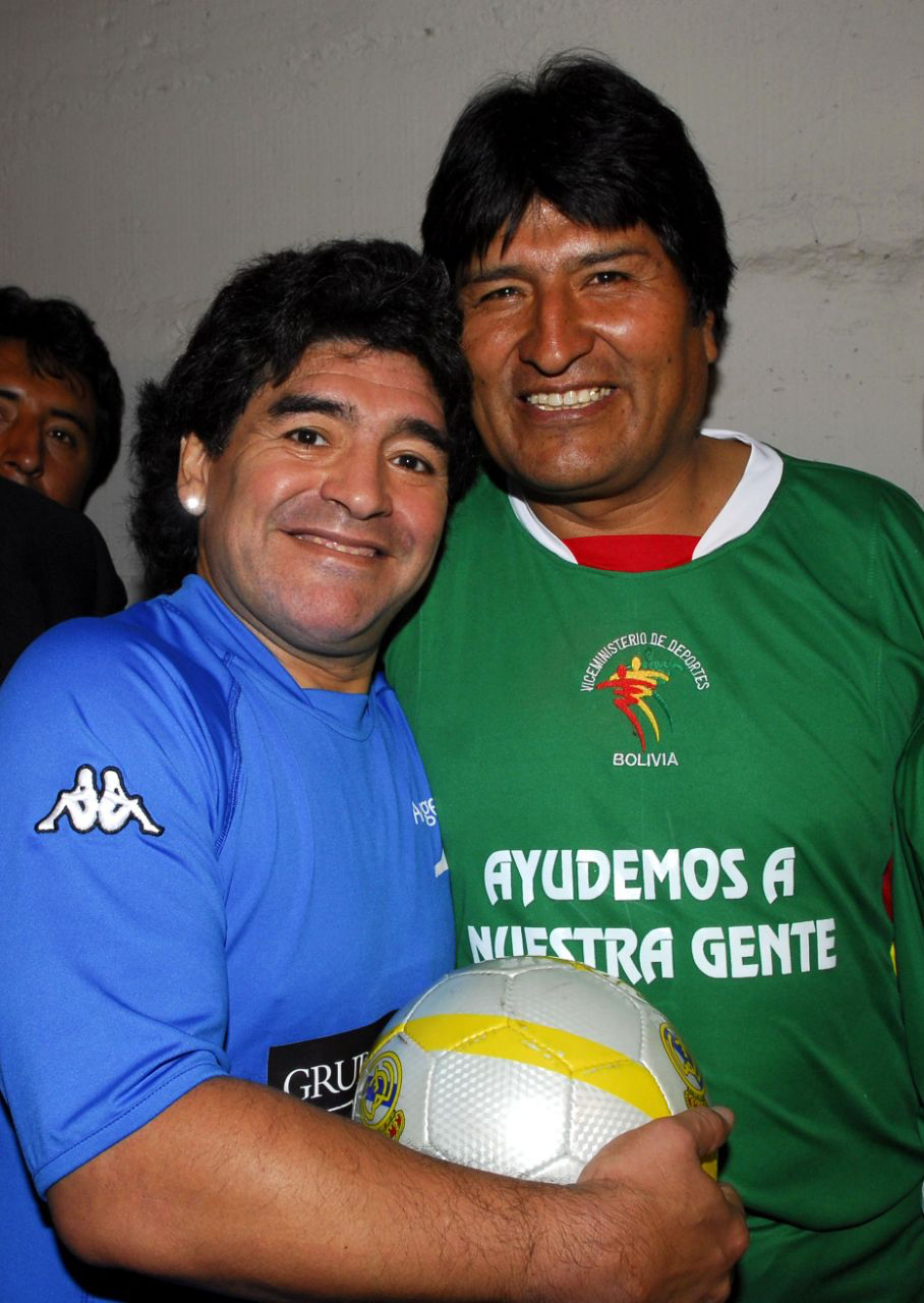 Diego Maradona y Evo Morales | Lendas do futebol, Lendas, Futebol