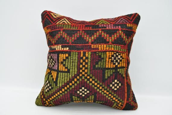 "kilim pillow 20""x20"" cushion cover embroidered boho pillow anatolian pillow case tribal pillow cover"