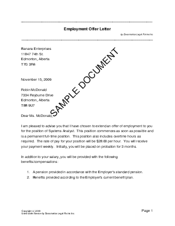 printable sample offer letter template form laywers template forms