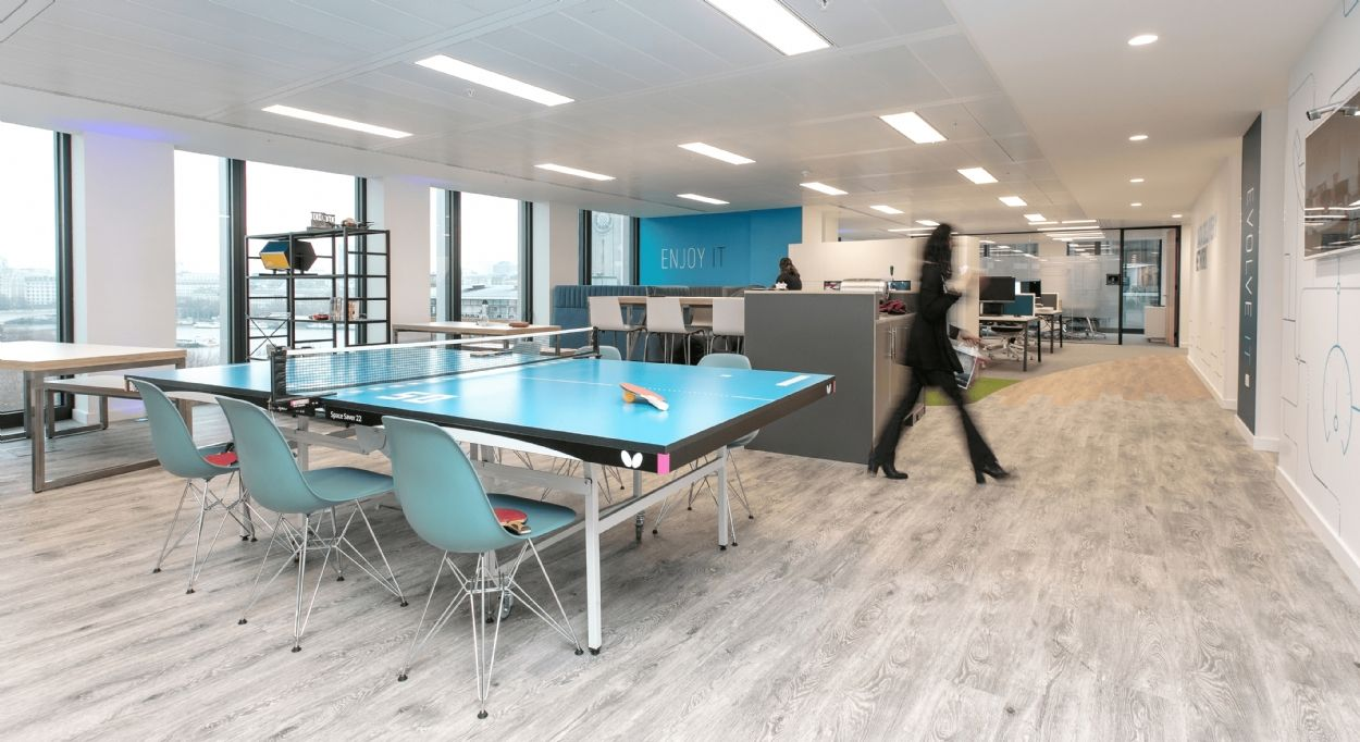Office breakout area Ping pong table in office Workplace