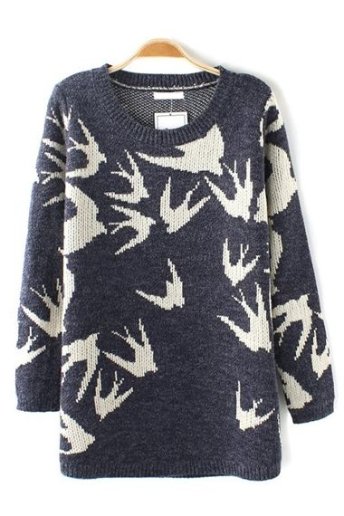 Love...Love...Love this Swallow Print Loose Pullover Sweater