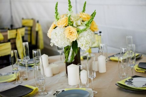 White hydrangea, white snapdragons, yellow roses