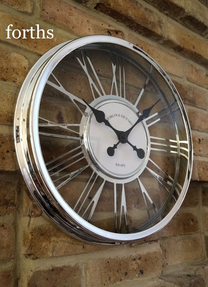Best Quality Chrome Effect Large Wall Clock Modern Shabby Chic New