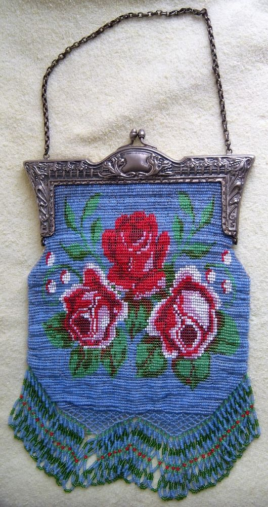Fancy Roses Floral Victorian Beaded Purse