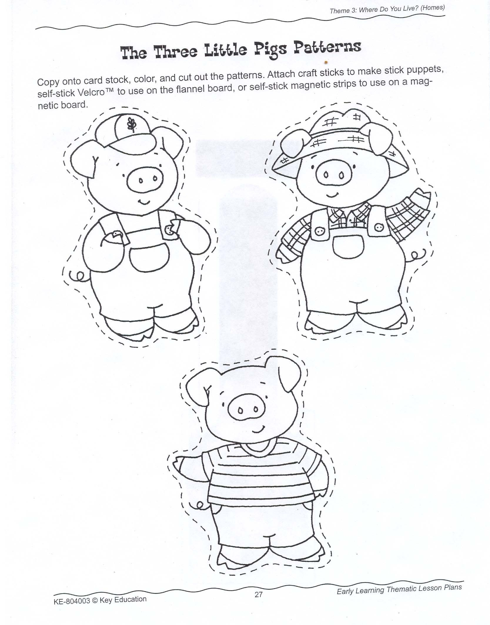 Coloring pages 3 little pigs - 3 Little Pigs Craft Stick Puppets
