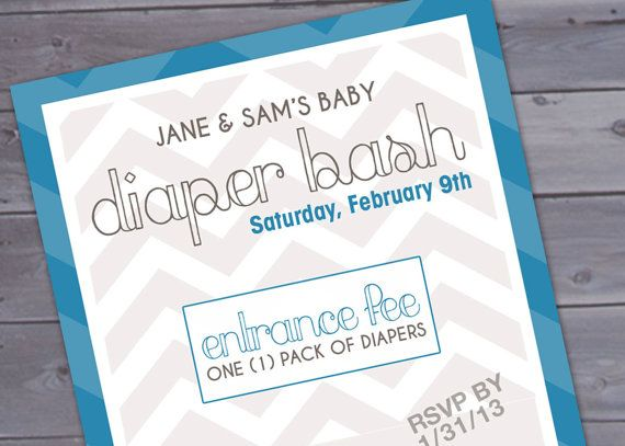 Diaper Bash Chevron Baby Shower Invitation Printable By Brigeeski