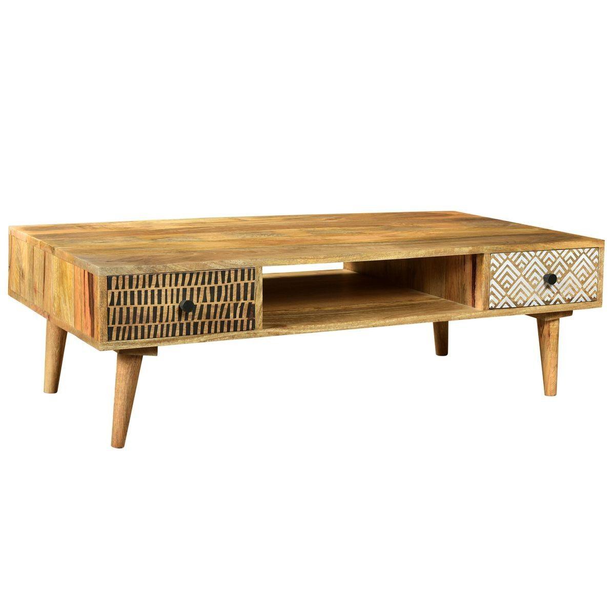 Table Basse Tali En Bois 2 Tiroirs Taille Tu Table Basse Deco Table Basse Bois