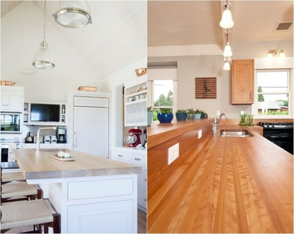 Holz-Arbeitsplatten Küche moderne lichtgrau Holzfarbe Rotton - arbeitsplatten für die küche