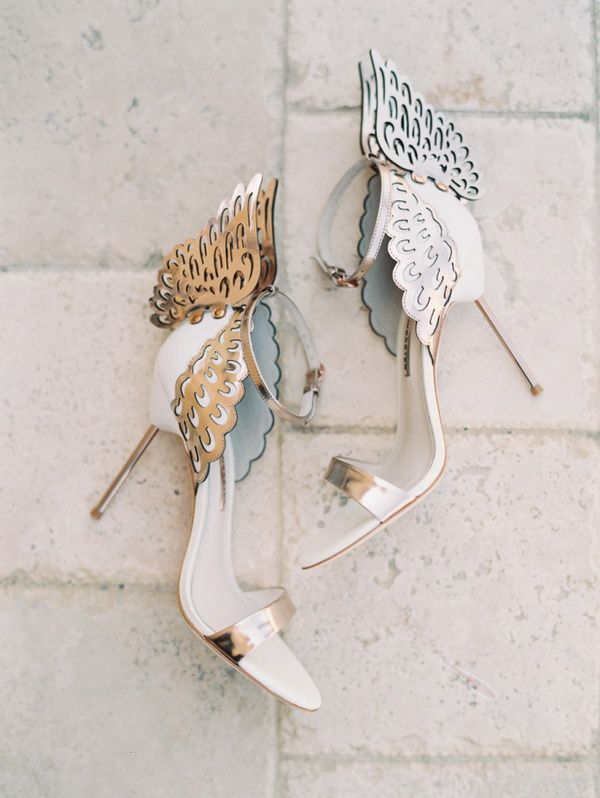 white leather high heel bridal shoes with angel wings
