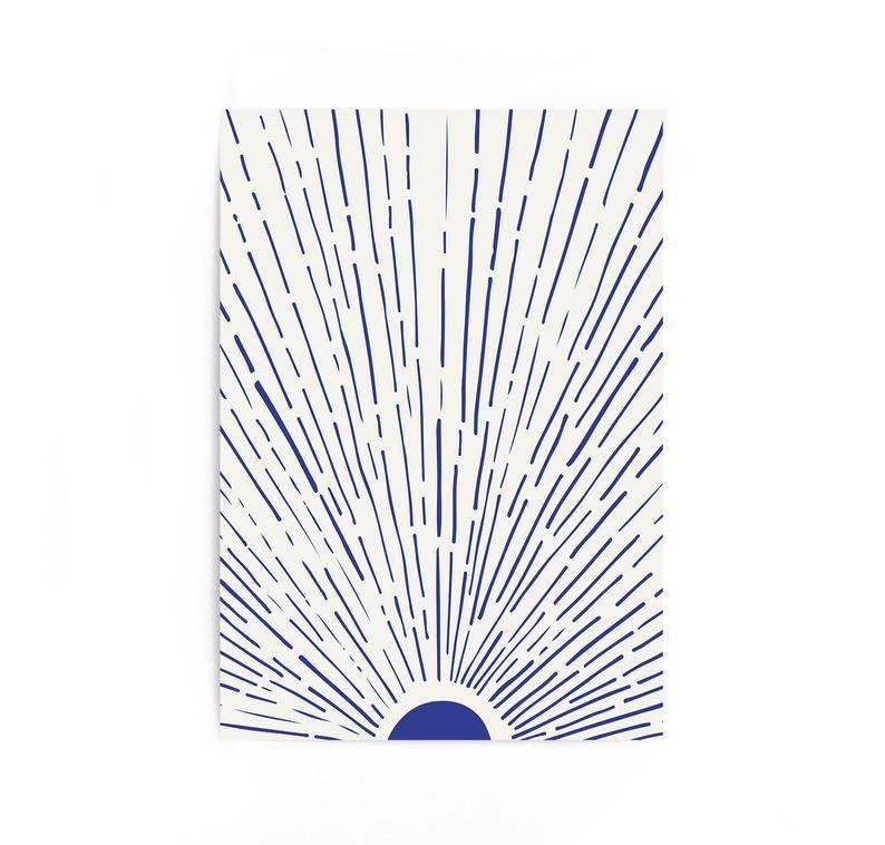 Large Print Blue Sun Geometric Landscape Sea Prints Wall Art Ocean Print Large Poster Home Decor Waves Mailed Prints Decor