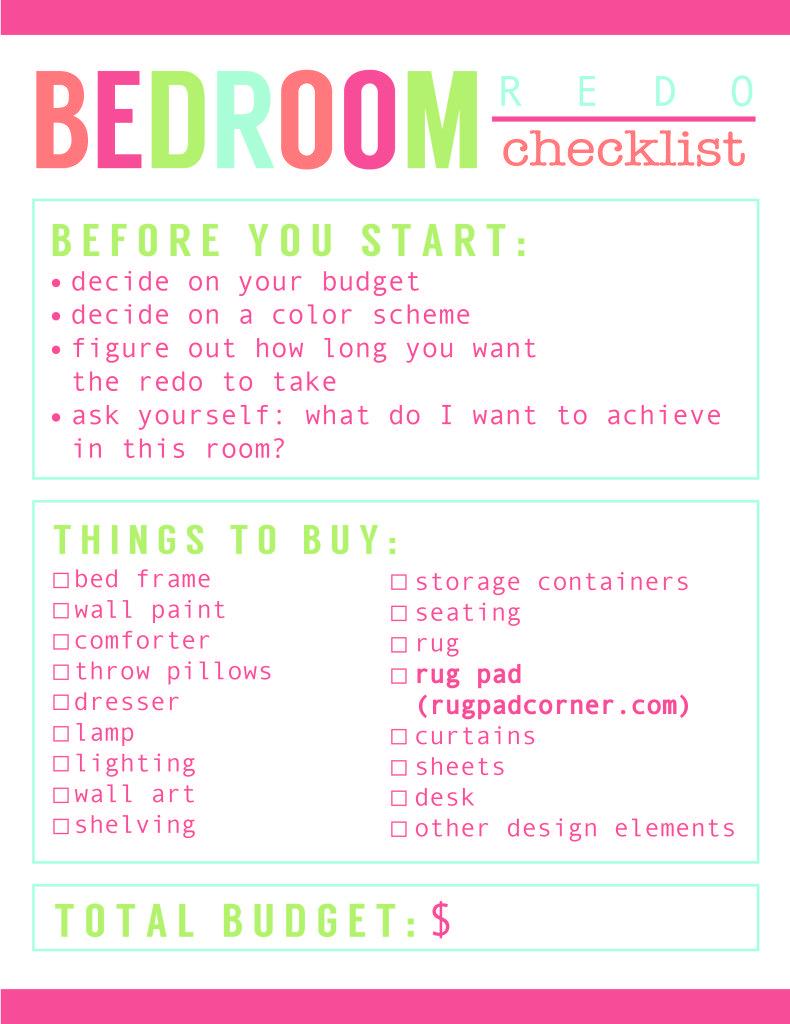 Room Redo Checklist + Best Rug Pads EVER!  Bedroom checklist