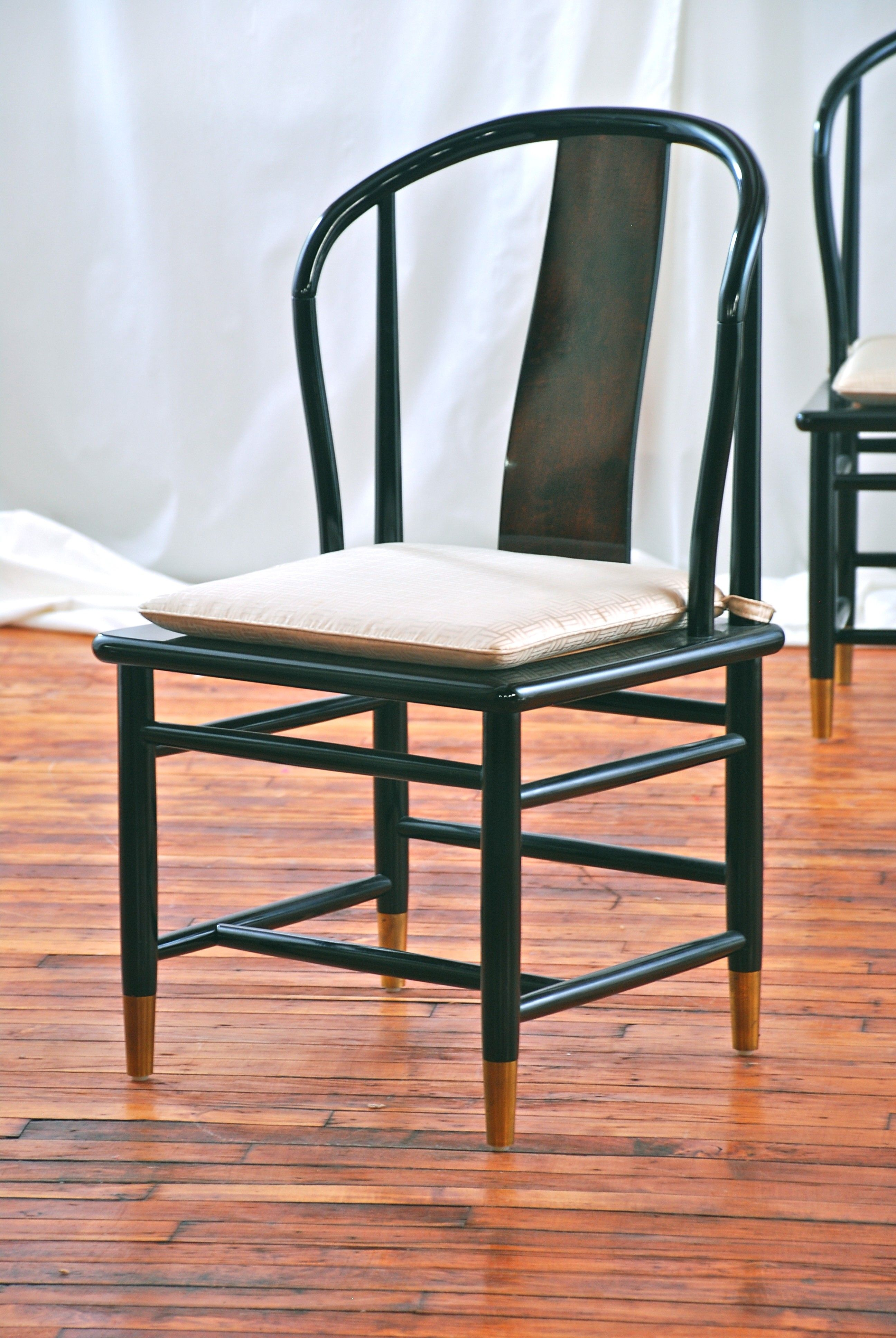 Black lacquer dining chair 175 Chicago http//furnishly