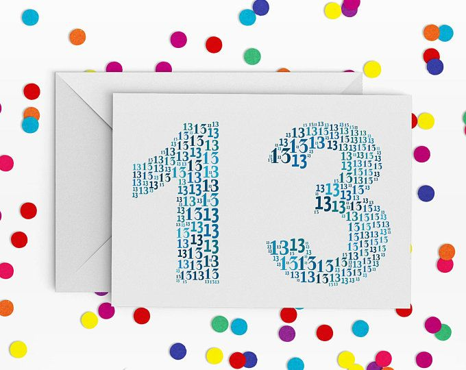 13 birthday card number thirteen card card for teenager 13th 13 birthday card number thirteen card card for teenager 13th birthday happy bookmarktalkfo Image collections