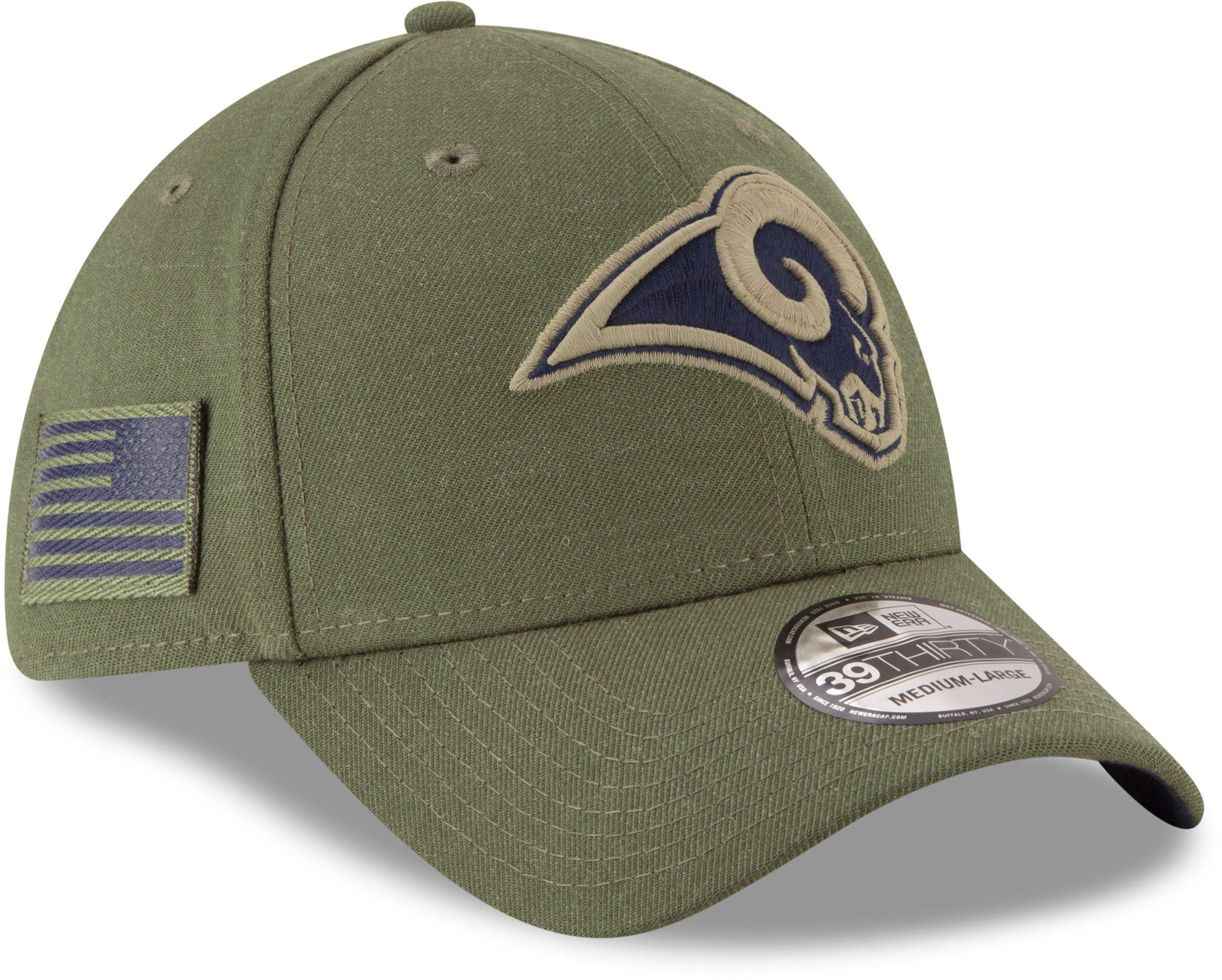 newest fea1d 22f95 Los Angeles Rams New Era 3930 NFL On Field 2018 STS Stretch Fit Cap –  lovemycap