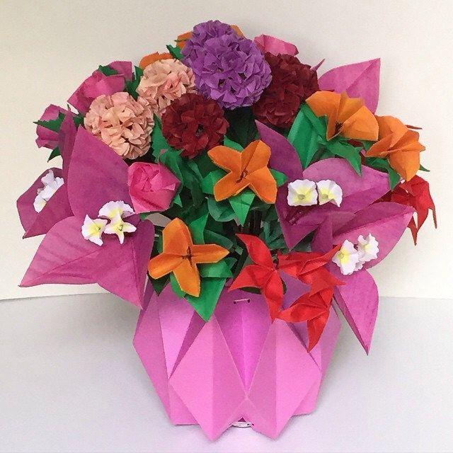 Flower Bouquet In Paper Vase Nlm Origami Passion Flower Bouquet