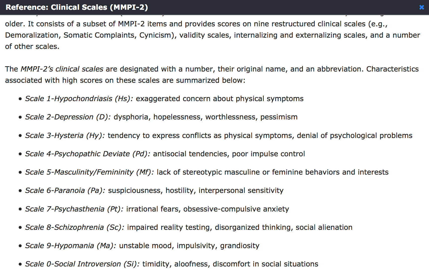 Clinical Scales Of Mmpi  Eppp Psychology Studies