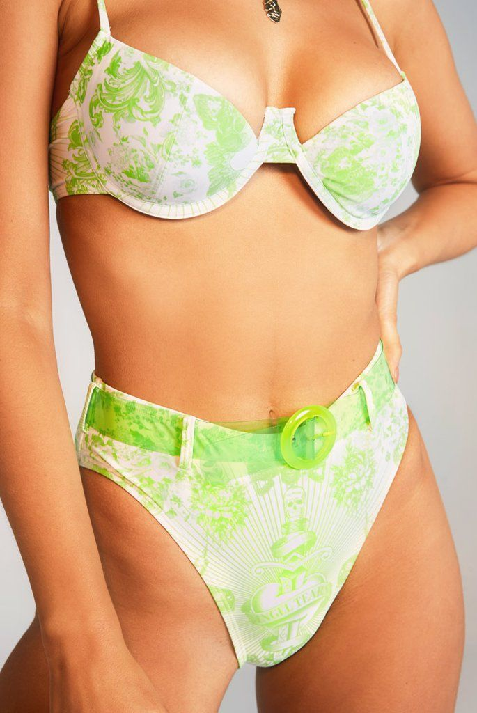 Neon Lime Tattoo Print High Leg Bikini Bottoms