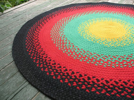 Braided Rug Made From Recycled T Shirts Rasta By Braidedgloryrugs 190 00