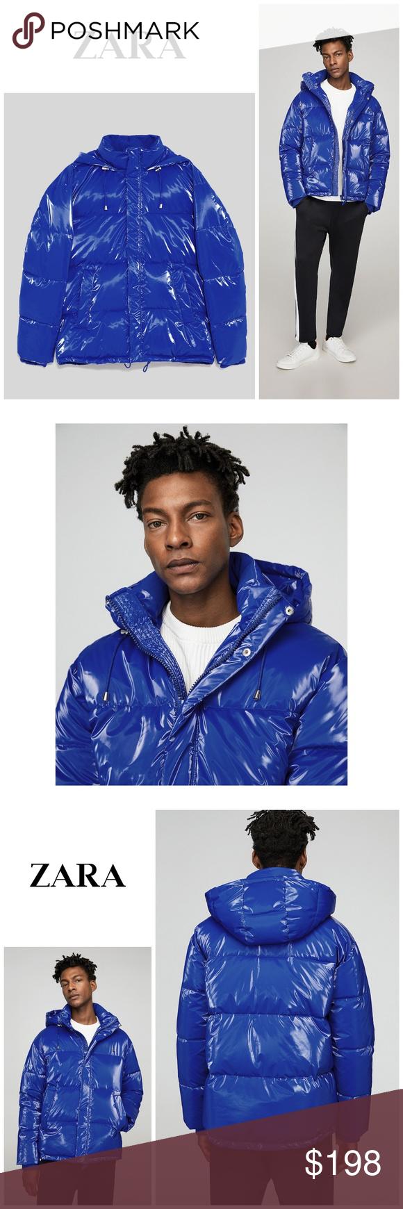 Nwt Zara Man Blue Vinyl Effect Puffer Jacket Clothes Design Fashion Fashion Design