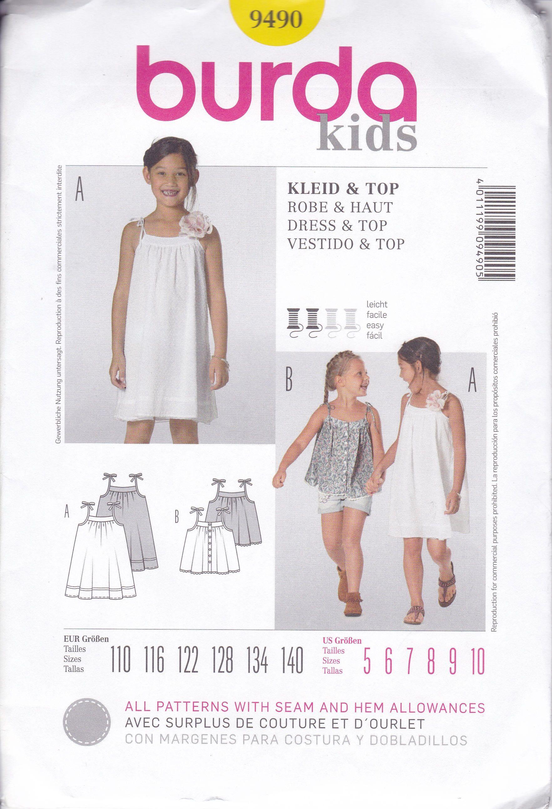 0d0376090cf1 FREE US SHIP Burda Kids 9490 Sewing Pattern Girls Summer Dress Top Tie  Shoulders Uncut Size 4 6 7 8 9 10 New by LanetzLiving on Etsy