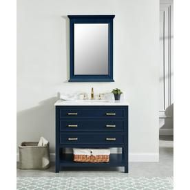 shop allen roth presnell navy blue single sink vanity with carrara white natural marble top common 37 in x 22 in actual 37 in x 22 in at lowes com