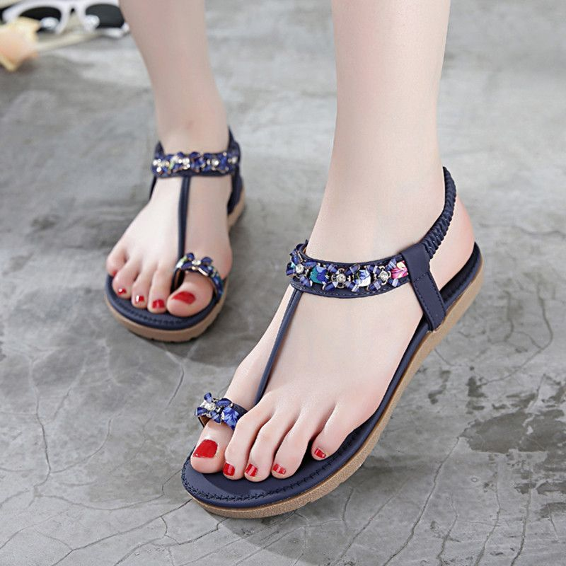 Pu Elastic Band Rhinestone Shining Flat Sandals Stylish