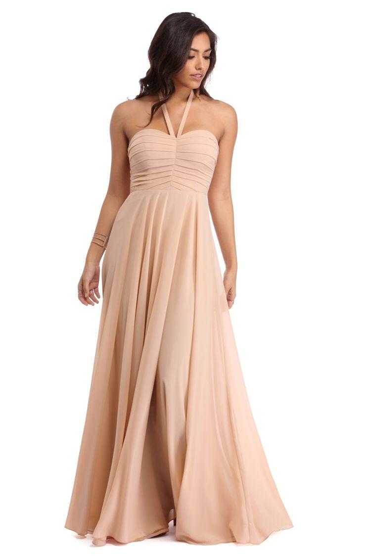 71cfbec1be5 Madeline Natural Halter Chiffon Dress
