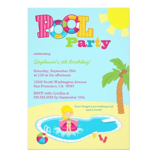 Cute pool party girls birthday party invitation Girl birthday - birthday invitation pool party