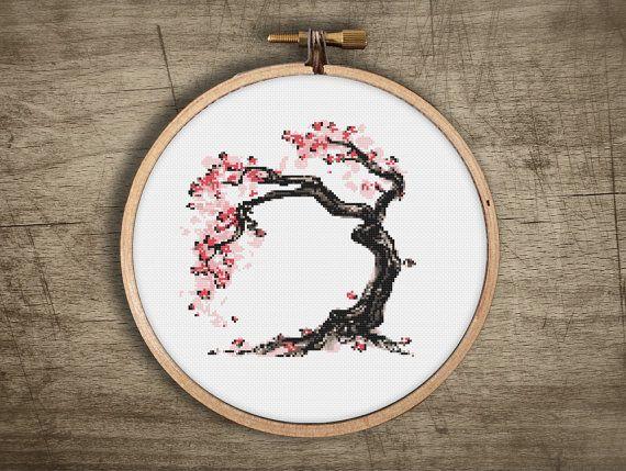 Bonsai Cross Stitch Pattern Modern Asian Cherry Blossom Etsy In 2021 Cross Stitch Tree Stitch Patterns Cross Stitch Embroidery