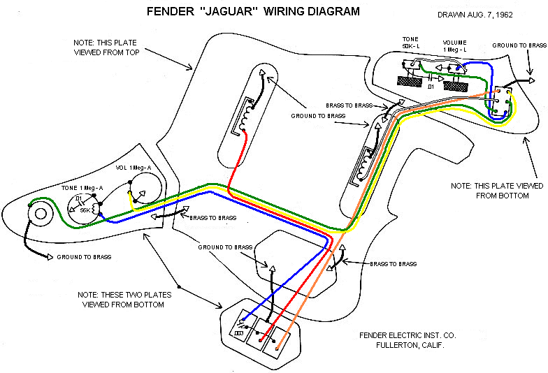 Jaguar Wiring Diagram   music   Diy guitar pedal, Guitar pickups, Guitar diy