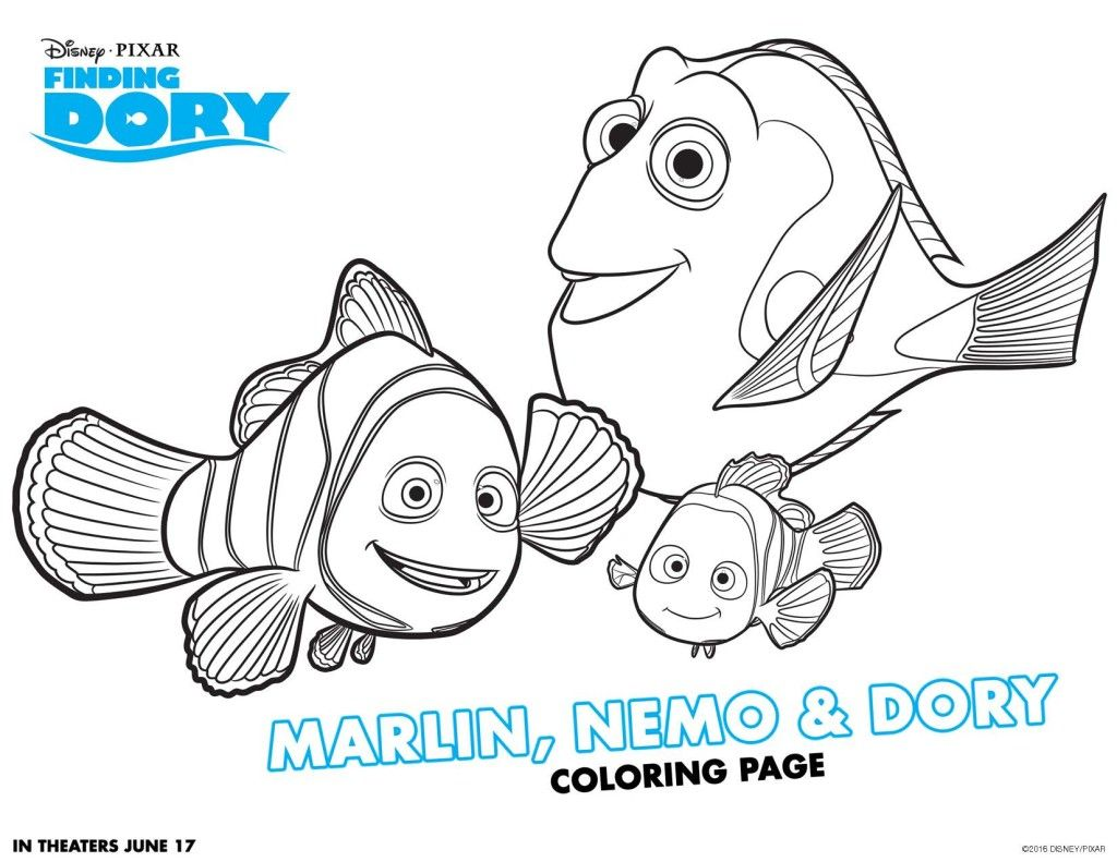 Free coloring pages for june - Finding Dory Free Printable Activities Marlin Nemodisney Coloring Sheetsfree
