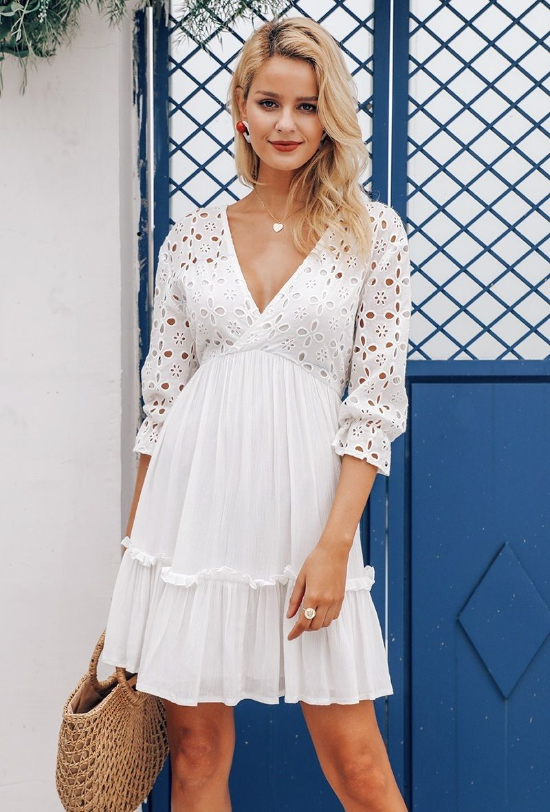 345b2465fdea CLICK on the photo TO SHOP this beautiful white spring dress :) New white  cotton lace V neck casual boho short ruffle women dress spring summer with  sleeves ...