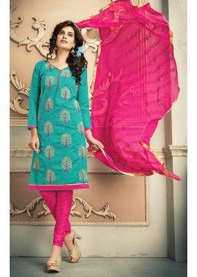 a1f4d88dfb Festival Wear Green   Pink Chanderi Silk Salwar Suit - 78317